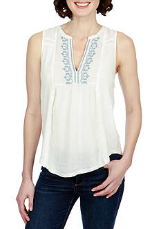 Lucky Brand Embroidered Pintuck Tank