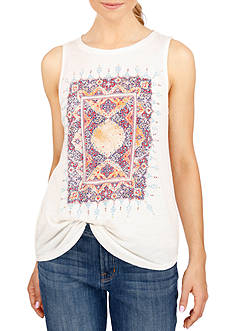 Lucky Brand Metallic Accent Graphic Tank