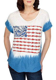 Lucky Brand Dip Dye Embroidered Flag Tee