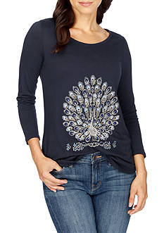 Lucky Brand Peacock Embroidered Tee