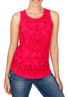 Lucky Brand Mars- Embroidered Eyelet Tank