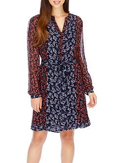 Lucky Brand Long Sleeve Mixed Print Dress