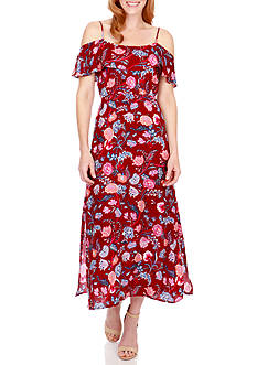 Lucky Brand Floral Cold-Shoulder Maxi Dress