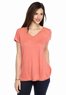 Cable and Gauge Crochet Inset Knit Top