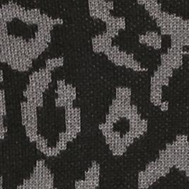 Women: Boat Neck Sale: Black Nickel Cable & Gauge Animal Print Boatneck Sweater