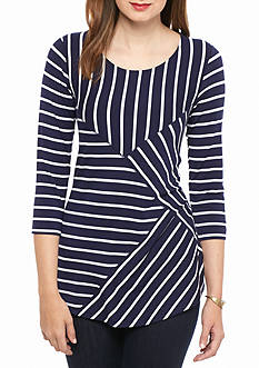 Cable & Gauge Three-Quarter Knit Top With Multi Stripes
