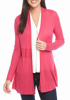 Cable & Gauge Pleated Hem Cardigan