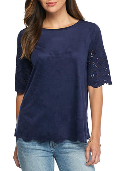 Cable & Gauge Perforated Faux Suede Top