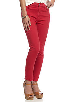 7 For All Mankind Colored Raw Hem Ankle Skinny Jeans