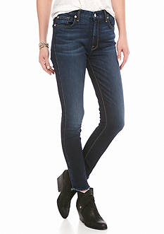7 For All Mankind High Waist Raw Hem Skinny Jean