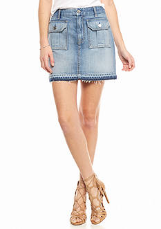 7 For All Mankind® Flap Pocket Denim Mini Skirt