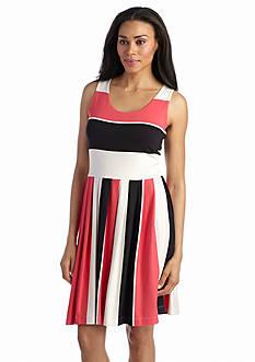 Grace Elements Pleated Stripe Scoop Neck Dress