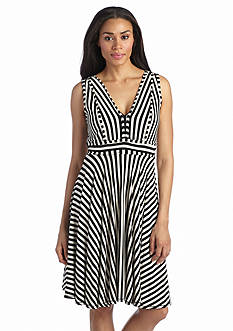 Grace Elements Sleeveless Stripe V-Neck Dress