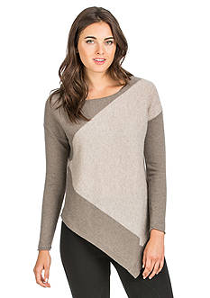 Ply Cashmere™ Color-blocked Asymmetrical Hem Pullover Sweater