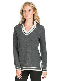 Ply Cashmere™ Tunic Sweater with Side Slits