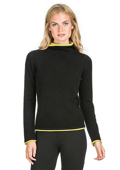 Premise Cashmere Turtleneck Double Layer Trim Pullover Sweater