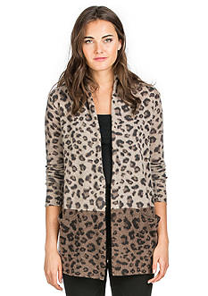 Ply Cashmere™ Open Front Leopard Cardigan