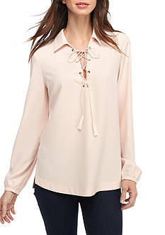 Grace Elements Lace Up Blouse