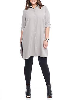 Grace Elements Plus Size Rolled Cuff Big Shirt