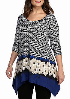 Grace Elements Plus Size Floral Border Sharkbite Tunic