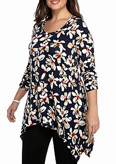 Grace Elements Plus Size Ruched Sleeve Sharkbite Tunic