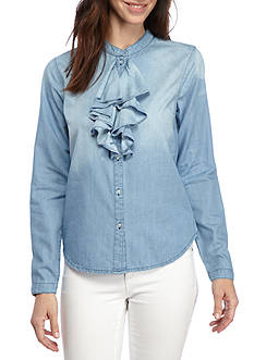 Grace Elements Ruffle Front Chambray Shirt