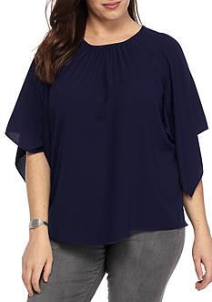 Grace Elements Plus Size Solid Angel Sleeve Blouse