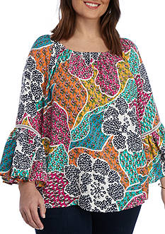 Grace Elements Plus Size Floral Printed Bell Sleeve Blouse