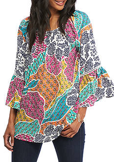 Grace Elements Floral Bell Sleeve Blouse