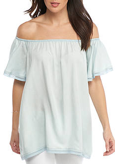 Grace Elements Chambray Flutter Off-the-Shoulder Top