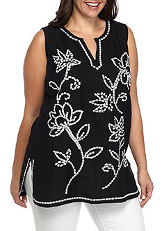 Grace Elements Plus Size Sleeveless Embroidered Front Tunic Top