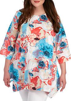 Grace Elements Plus Size Watercolor Floral Tunic