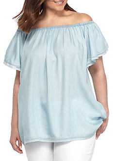Grace Elements Plus Size Off the Shoulder Ruffle Sleeve Top