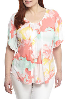 Grace Elements Plus Size V-Neck Ruffle Slit Sleeve Tunic
