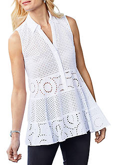 Grace Elements Pattern Eyelet Top