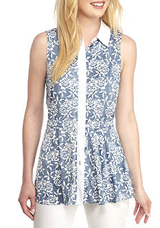 Grace Elements May Sleeveless Collar Tunic