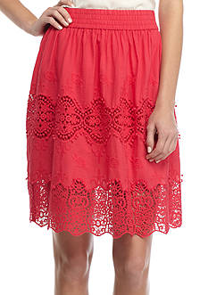 Grace Elements Smocked Lace Inset Skirt
