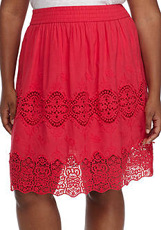 Grace Elements Plus Size Pull-On Lace Inset Skirt