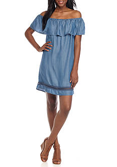 Grace Elements Flounce Off the Shoulder Chambray Dress