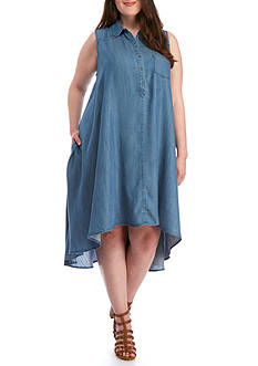 Grace Elements Plus Size Ombre Tencel® Hi-Lo Swing Dress