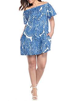 Grace Elements Plus Size Flutter Sleeve Smock Neck Shift Dress