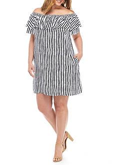 Grace Elements Plus Size Striped Off The Shoulder Ruffle Dress