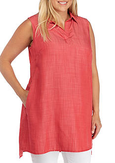 Grace Elements Plus Size Split Neck Collared Tunic