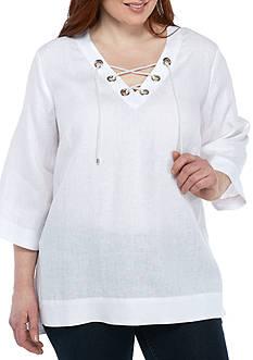Grace Elements Plus Size Linen Grommet Lace-Up Tunic