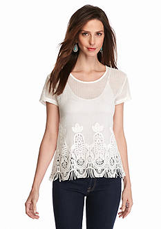 Grace Elements Crochet Fringe Top