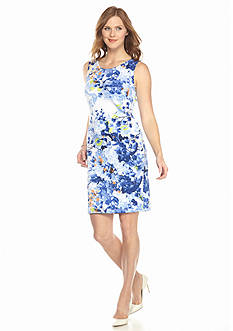 Grace Elements Sleeveless Floral Scuba Dress