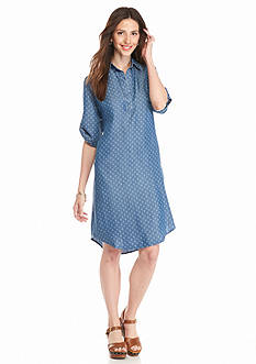 Grace Elements Printed Chambray Shirt Dress