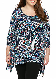 Grace Elements Plus Size Striped Sharkbite Tunic