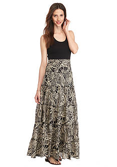 Grace Elements Leaf Print Tiered Maxi Dress