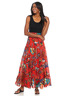 Grace Elements Bright Floral Tiered Maxi Dress